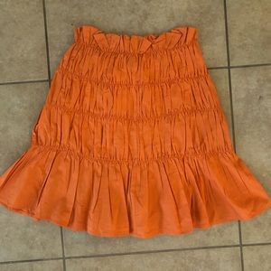 Asos Shirred orange mini skirt. NWT